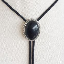 New Original Vintage Sterling Silver 925 Nature Black Obsidian Stone Oval Wedding Bolo Tie Necklace BOLOTIE-S069
