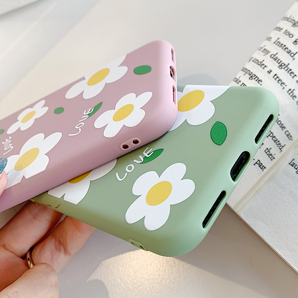 KIPX1113_5_JONSNOW Matte Phone Case for iPhone 6S 6P 7 8 Plus Small Daisy Pattern Soft Silicone Cases for iPhone X XR XS Max Capa Fundas