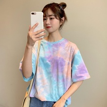 Womens Casual Fashion Round Neck Printed Short Sleeve Pullover Loose Hip Hop Korean Style o neck short sleeve sexy T-Shirt