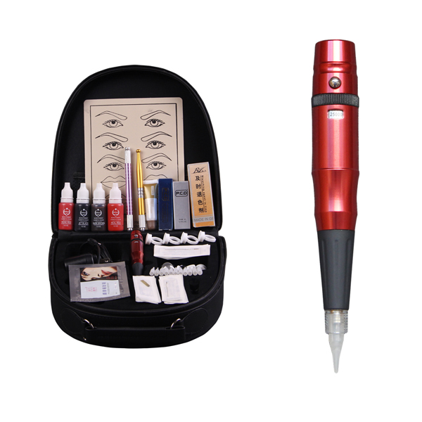 1 Set High-grade professional Permanent Makeup Kit With Rotary Tattoo Gun Set Pigment Needle Lip Repair For Beginner high grade professional permanent makeup pen machine kit 5color eyebrow tattoo set pcd lip repair protect senior trunk dsh 0072