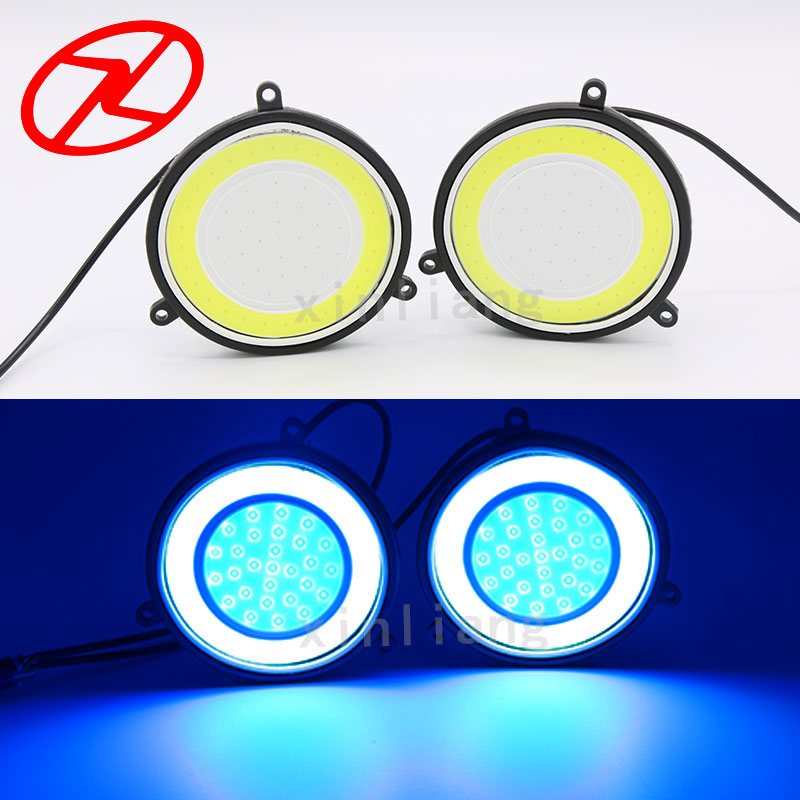 2PCS Super Bright Cars COB Chip LED DRL Fog Driving Light daytime running turn signal Lamp White Blue Color 12V Waterproof wljh 2x car led 7 5w 12v 24v cob chip 881 h27 led fog light daytime running lamp drl fog light bulb lamp for kia sorento hyundai