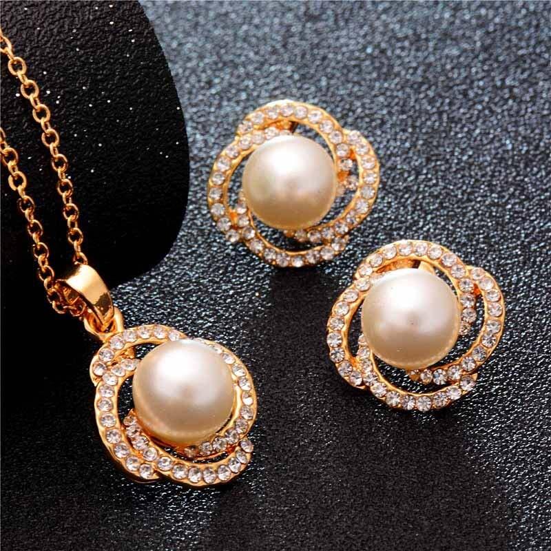 Высота: Hyde 5 Дизайн золото Цвет Свадебные Наборы свадебных ювелирных изделий и многое другое с имитацией жемчуга и кристаллов для Для женщин...
