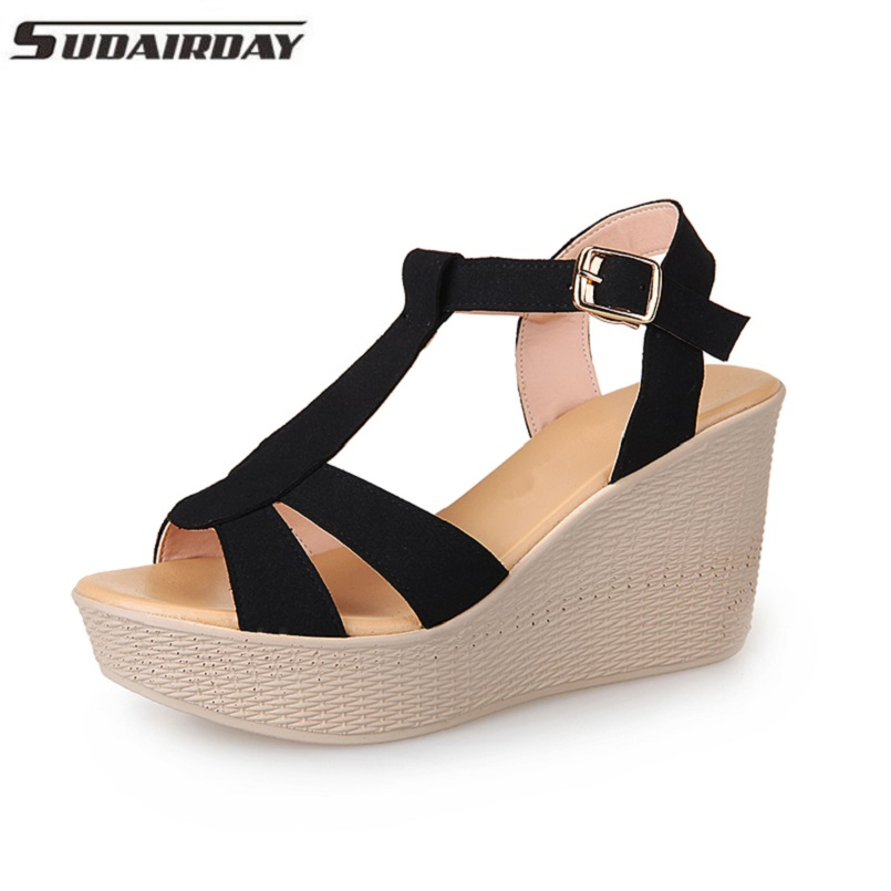 Women Sandals Genuine Leather 9cm Platform Thick Heel Sandals Wedges Women's Shoes T-strap Open Toe Summer Shoes Plus Size 33-41 women in the summer of 2018 the new patent leather nude wedges pointed toe pump work shoes leisure women plus size 35 40 a23