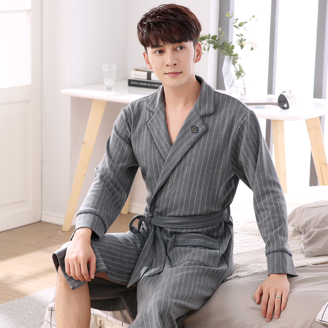 Striped Robe Real Male Autumn Thick Cotton Dressing Gown Long Sleeve ...