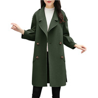 New Woolen Coats Women Double Breasted Medium Long Blends Jackets Tops Ladies Army Green Casual Woolen Blends Jackets FP1535