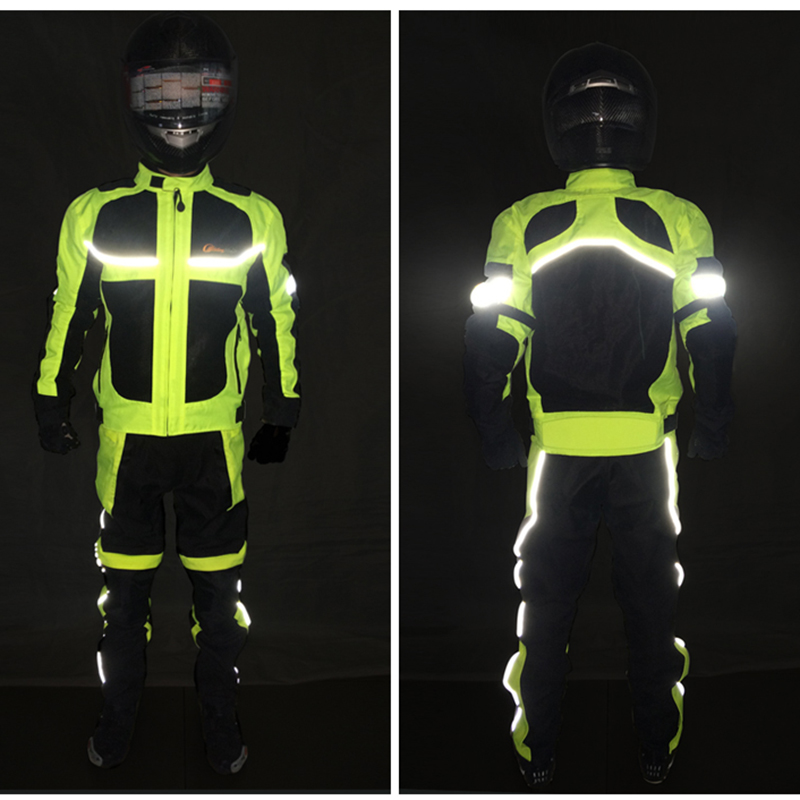 Motorbike reflective Night clothes jacket Motorcycle protective gear pads jackets Riding racing summer pants clothing 3