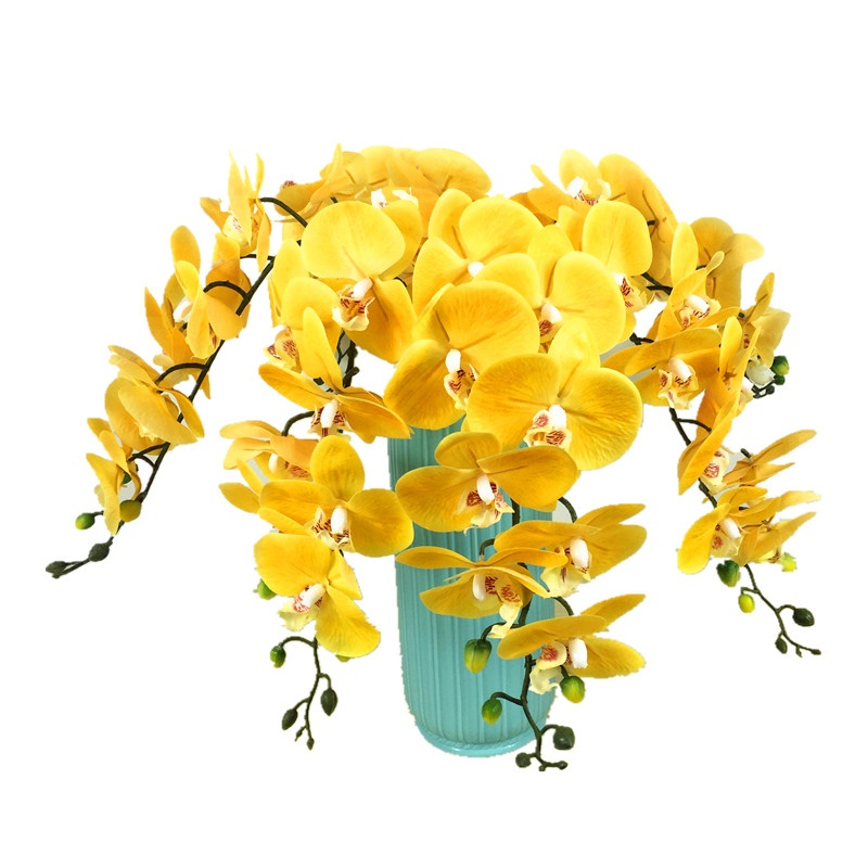 5pcs Lot Yellow Plastic Orchid Flower Real Touch Phalaenopsis Latex Wedding Party Fake Erfly Free Shipping