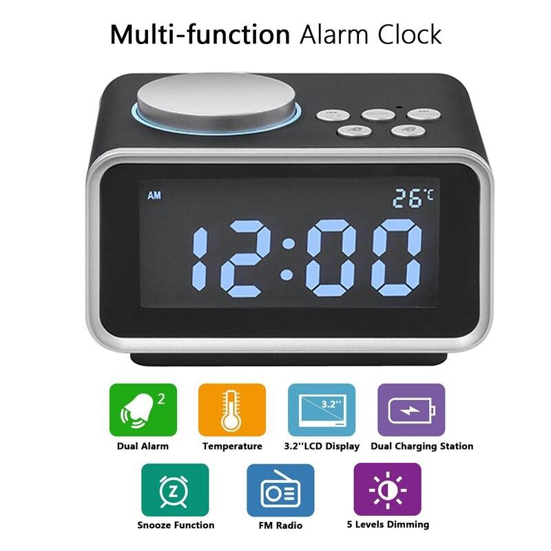 LED réveil numérique Radio FM réveil fort pour dormeurs lourds avec double alarme AUX in et deux Ports de charge USB