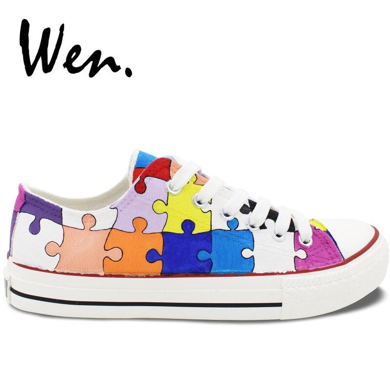 Вэнь мужская женская обувь с ручной росписью дизайн пользовательские красочные головоломки низкий верх парусиновые кроссовки подарки на Р... - 2
