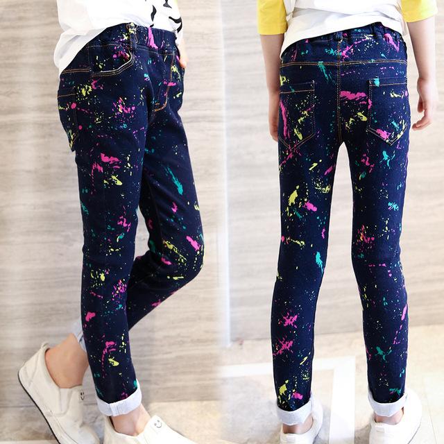 Calças de Brim meninas Marca Primavera Crianças Calças Jeans Para Meninas Da Moda Casual Crianças Roupas Para Meninas Dos Desenhos Animados Bonito Calça Jeans Para Meninas 4-12