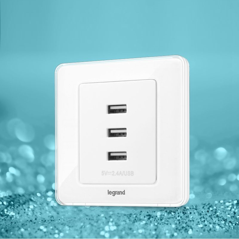 ФОТО High Quality Crystal White 3 USB Charging Socket 3600mA Telephone Charging 86type Wall Socket 86*88mm