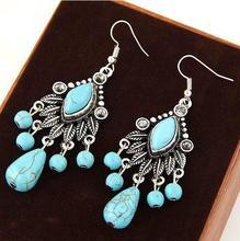 NANBO Rushed Trendy Rhinestone Fashion Alloy Bohemian Big Leaf Blue Stone Tassel Earrings for Women Jewelry