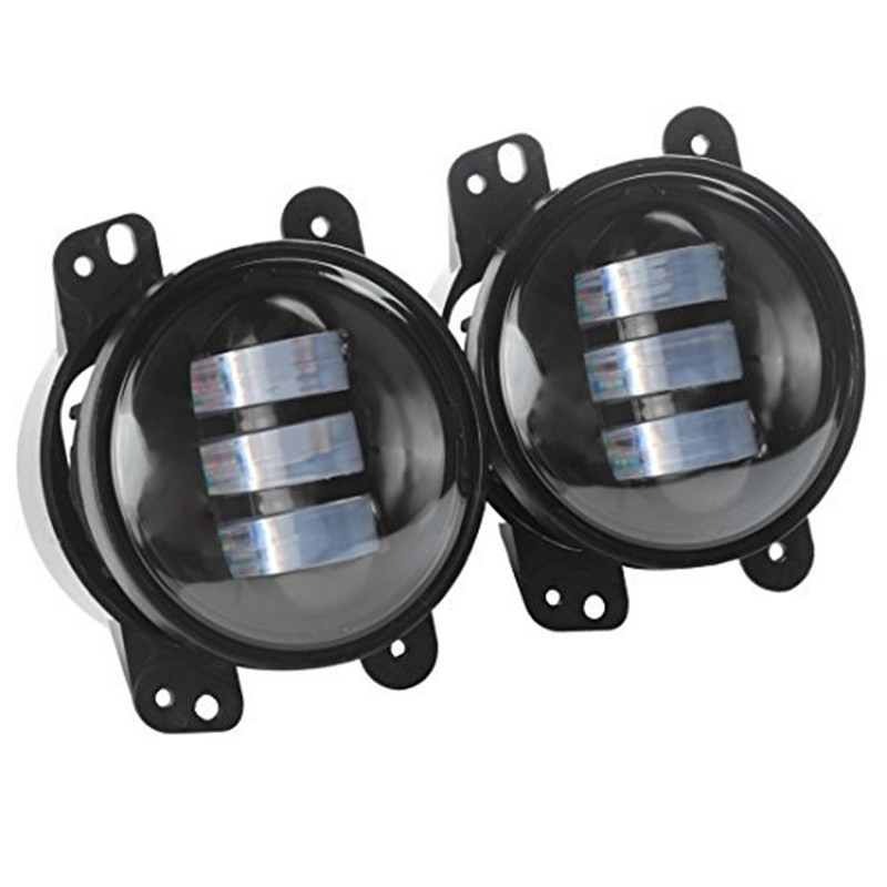 цена 1 pair 4inch Projector lens 30W led fog lights lamp for JK Wrangler for JP driving offroad lamp