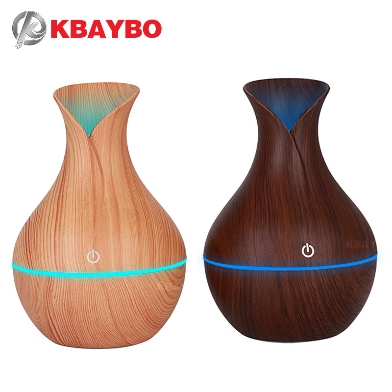 KBAYBO Electric Humidifier Aroma Oil Diffuser Ultrasonic Wood Air Humidifier USB Cool Mini Mist Maker LED