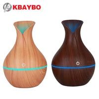 KBAYBO Electric Humidifier Aroma Oil Diffuser Ultrasonic Wood Air Humidifier USB Cool Mini Mist Maker LED