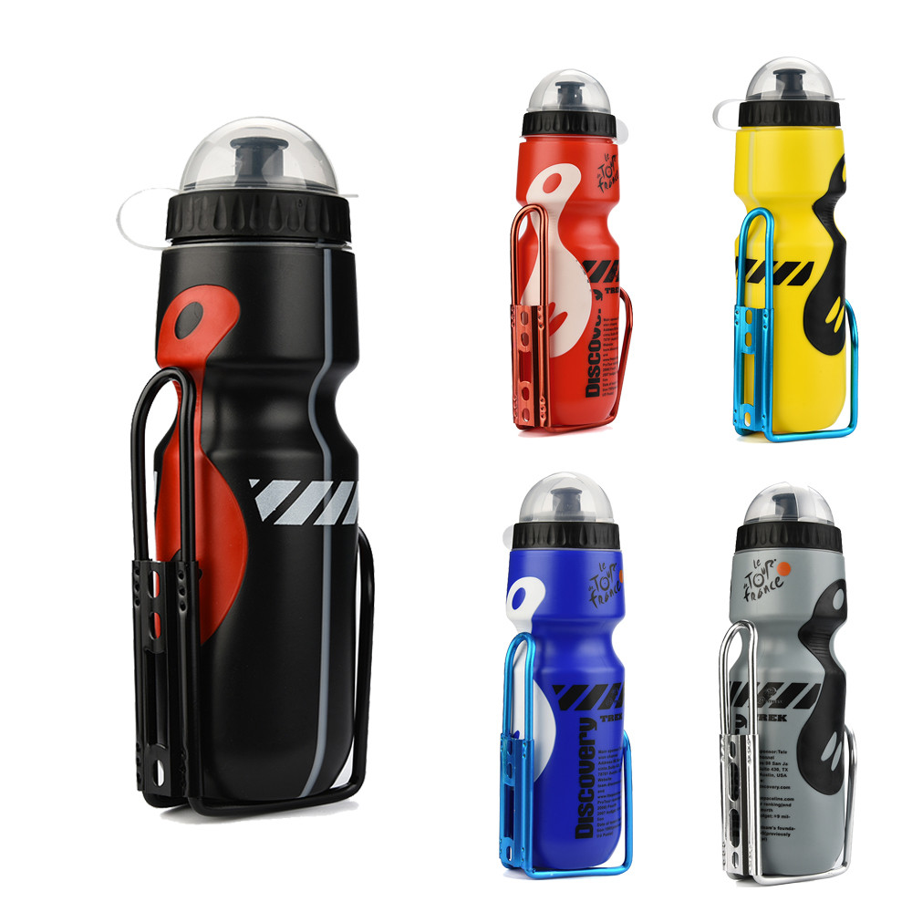 650ml Outdoor Water Bottle With Holder Cage Rack Outdoor Mountain Cycling Camping Fitness Training Kettle Sport Water Bottles