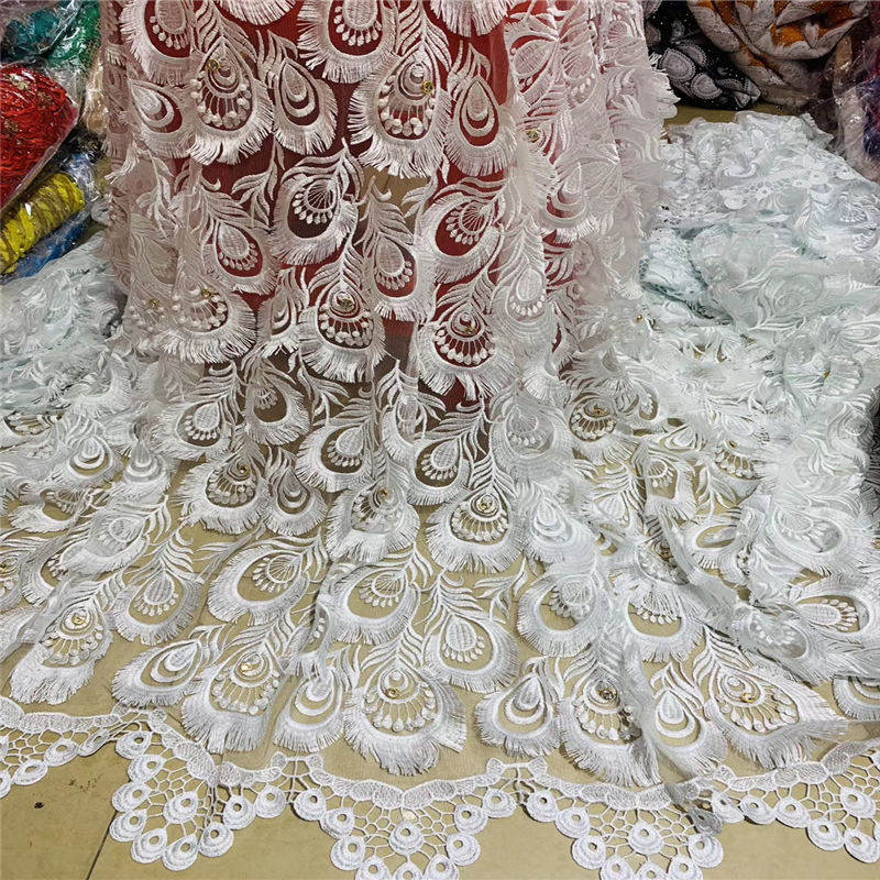Bridal Beaded Lace 2019 African Lace Fabric High Quality 3d Flower Embroidery Nigerian Lace Fabrics For Wedding Dress Cd2855 Refreshing And Enriching The Saliva Apparel Sewing & Fabric