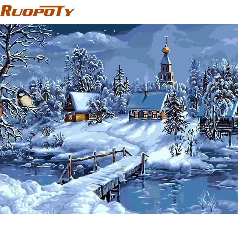 RUOPOTY Frmae Christmas Snow Landscape DIY Painting By Numbers Handpainted Canvas Painting Unique For Christmas Decor 40x50cm