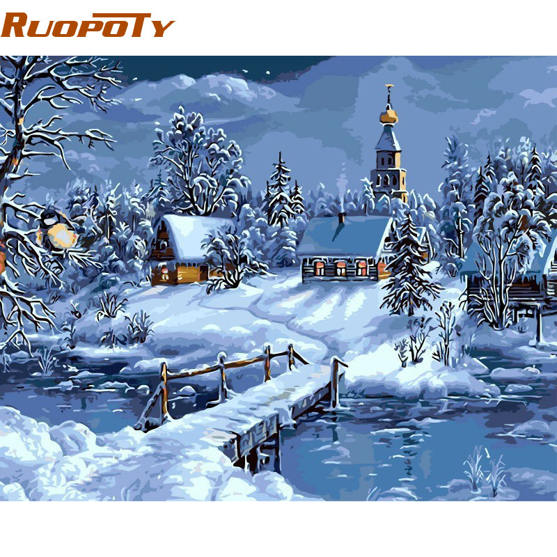 Unframed Christmas Snow Landscape DIY Painting By Numbers Handpainted Canvas Painting Unique For Christmas Decoration Artwork