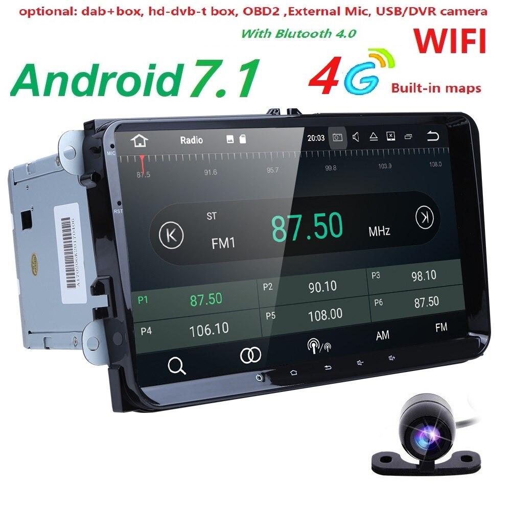 2 Din 9 pouce Quad core Android 7.1 voiture dvd GPS pour VW Polo Jetta Tiguan passat b6 cc fabia miroir lien 4g wifi Radio BT au tableau de bord