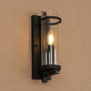 Image 2 - Outdoor waterdichte retro cilindrische glazen wandlamp industriële restaurant bar studie smeedijzeren wandlamp