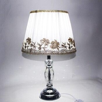 Современная ткань в европейском стиле, Хрустальная настольная лампа, винтажный E27 светодиодный 220 В, настольная лампа для чтения, прикроватн...