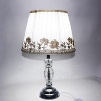 Modern European style fabric crystal desk lights vintage E27 LED 220V Table Lamp for Reading bedside home living room office bar