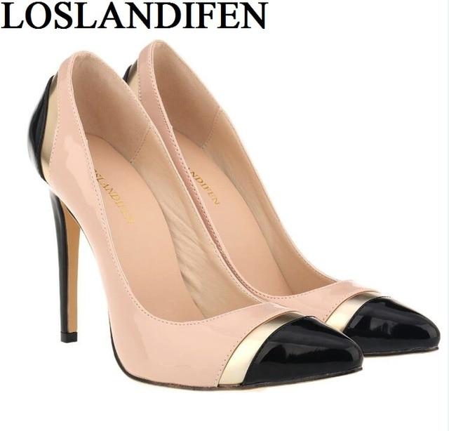 5d1287da1 Loslandifen sexy senhoras dedo apontado moda sapatos de salto alto mulheres  bombas sapatos mulher sapatos de
