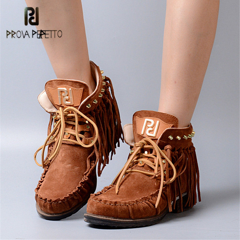 Prova Perfetto Retro Fringed Ankle Boots for Women Round Toe Casual Flat Shoes Woman Genuine Leather Lace Up Rubber Short Botas ladies casual lace up flat ankle boots fashion round toe plain cow leather boots for women female genuine leather autumn boots