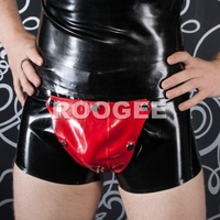 Men's latex boxers with cod piece provide mix color whole sales (open ass)