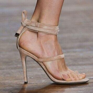 c3b224042982 Hot selling elegant beige black light tan toe-knob sandals wide ankle strap  embellished strappy crisscross high heel sandals