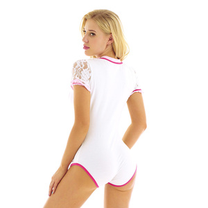 Image 3 - Iiniim yetişkin kadın kısa seksi kasık Clubwear kostüm tek parça Romper tulum Bodysuit Cosplay Ruffled dantel etek