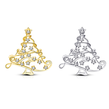 Christmas Theme Copper Brooch Full Of Light Bulbs Tree Golden Silver Fir Zircon Pin Jewelry