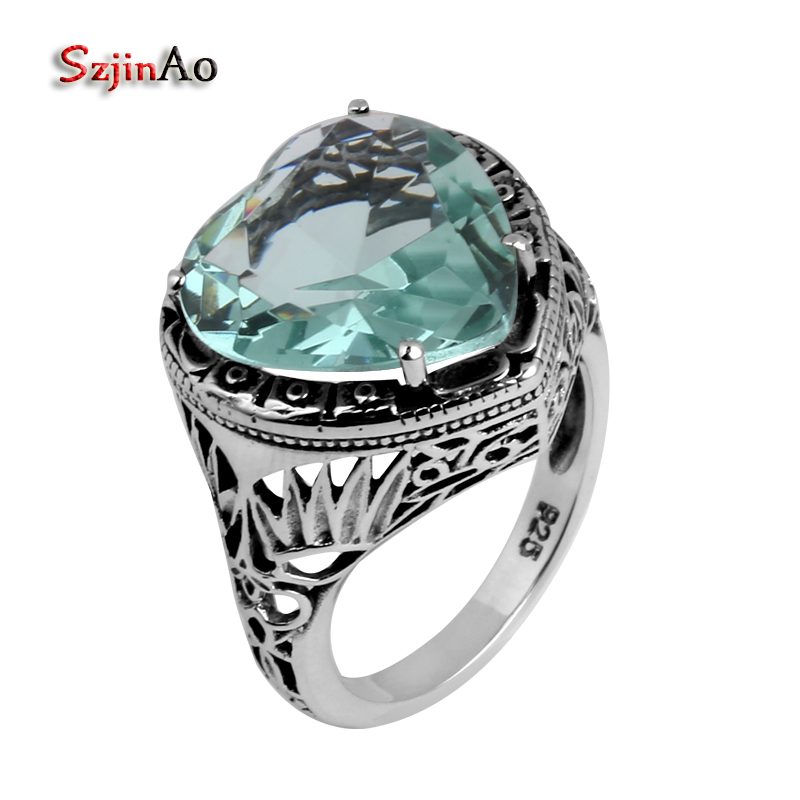 Szjinao Vintage 925 sterling silver jewelry wholesale carving heart-shaped aquamarine silver women Flower Pattern