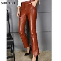 SHILO GO Leather Pants Womens Autumn Fashion sheepskin genuine leather Pants high waist zipper concise OL flare pants