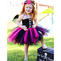 Wild Queen Children Girl Tutu Dress Halloween Girls Dresses Cosplay Carnival Costume Little Witch Vampire Pirate
