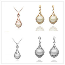 Fashion Austria Crystal Water Drop Silver Plated Earrings Necklaces Bridal Jewelry Wedding Dress Wedding Accessories