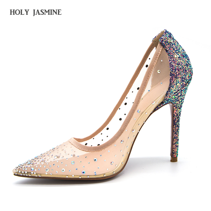 silver bling fashion design women's high heel pumps 2018 summer New see through Party Wedding stiletto shoes 11cm thin heels летняя шина toyo proxes t1 sport 245 45 r19 102y xl