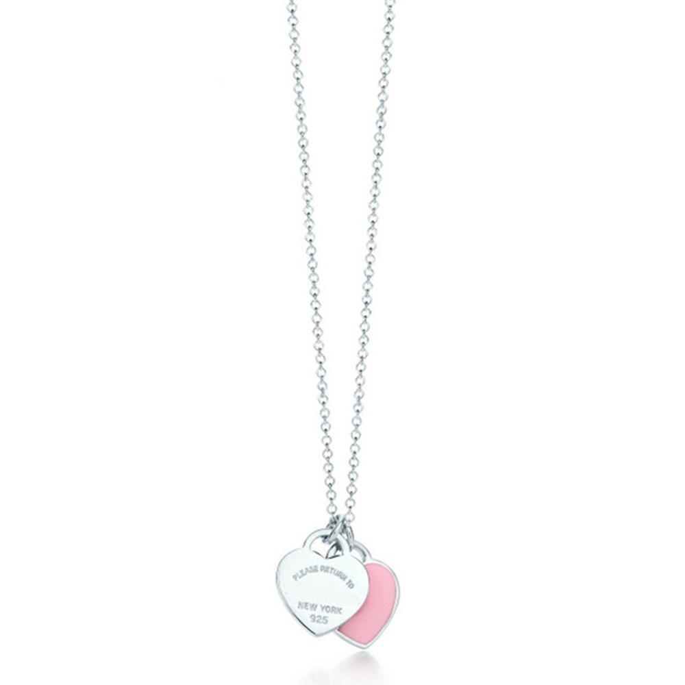 Pur 925 Sterling Argent Pandent Femmes Bijoux Coeur BrandNecklace Rose Coeur Bijoux Or Rose Couleur Coeur Amour Collier w/Logo