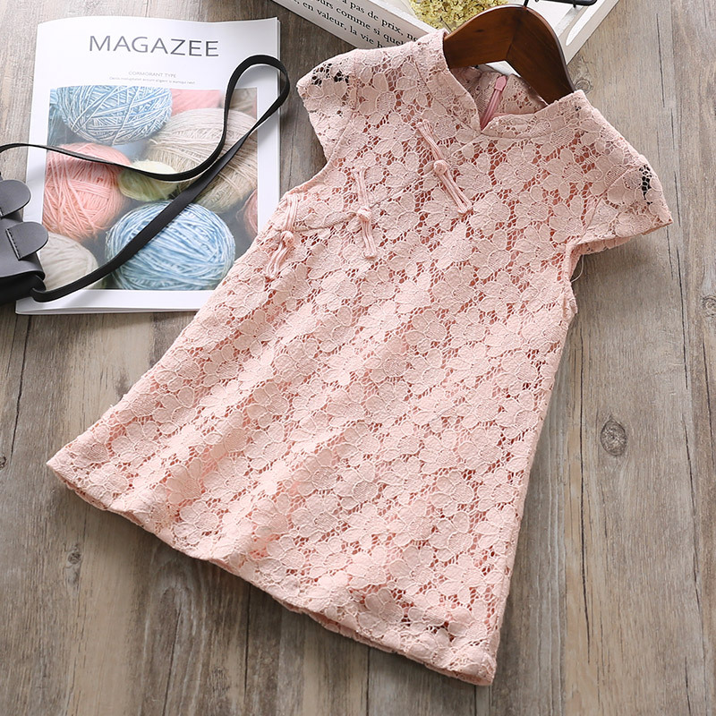 RUBU 2018 Summer Girls Chinese Style Dresses Baby Girl Solid Color Lace Dress For Wedding Party Toddle Girls Clothes For 2-7Y