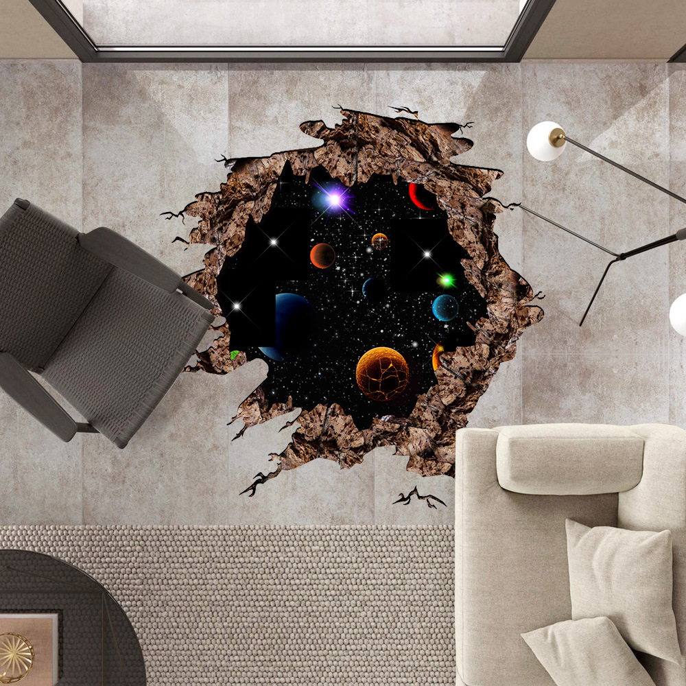 Crack Space Planet Wall Sticker for Kid Room Galaxy Stars Planets Universe 3D Moon Sticker Wall Mural Photo Wallpaper
