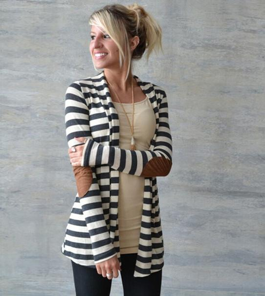 2018 women   basic     jackets   coats Spring and summer loose striped cardigan   jacket   large size ladies fashion thin   Jacket   9817