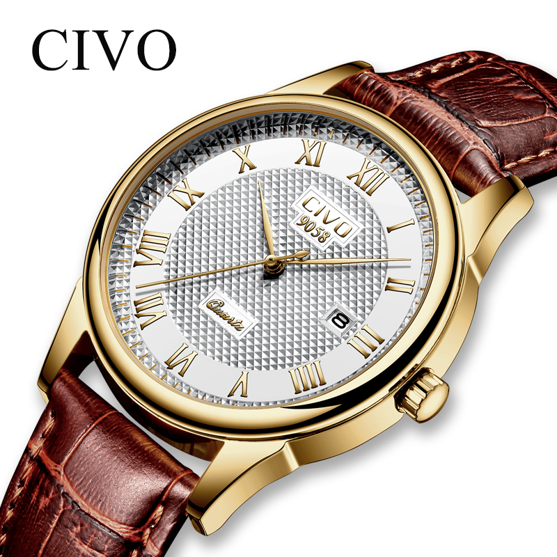 CIVO Fashion Men Watches Top Brand Luxury Genuine Leather Watch For Men Clock Waterproof Date Calendar Casual Quartz Wrist Watch все цены