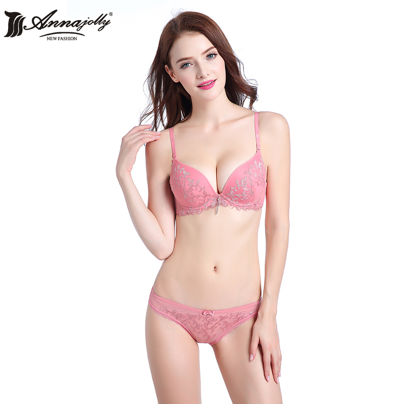 Annajolly Bras And Panties Women Top Bra Sets Sexy Push Up Brassiere Panties Briefs Purple Pink Green Underwear Lingerie 1103