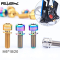 RISK Titanium Bicycle Accessories Installation fixed screws Bicycle disc brake screws bolts bicycle brake M6*18 mm 2 picecs/lot