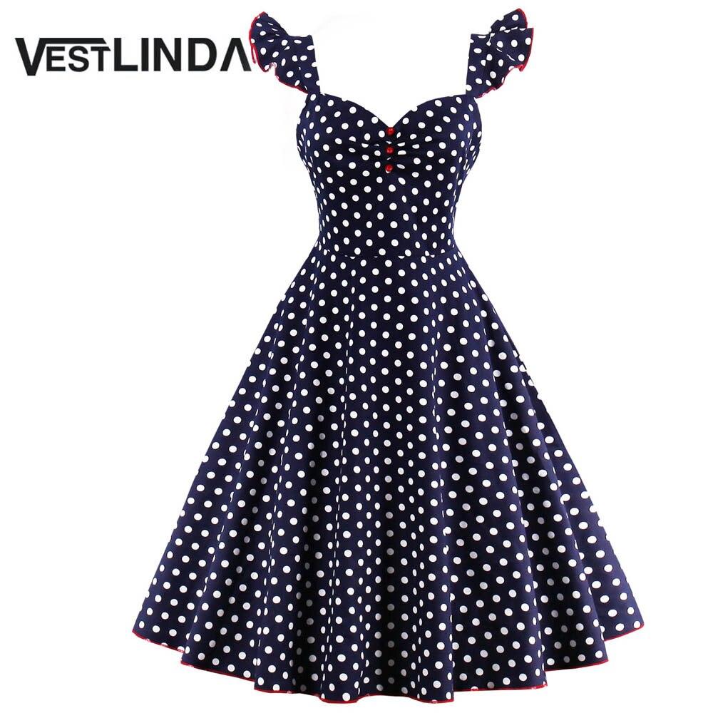 Vestlinda polka dot botones pin up dress mujeres 2017 vintage summer dress a-lin