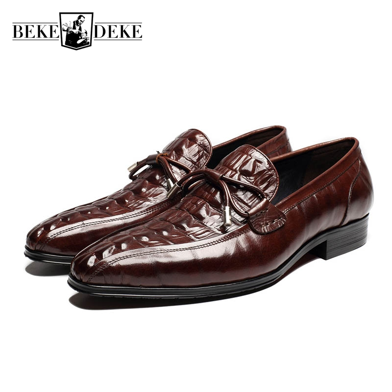 Slip On Mens Genuine Leather Cow New Fashion Formal Shoes Male Footwear Tassel Bowknot Zapatos Hombre Vestir Dress Shoes Scarpe zapatos hombre vestir low heel pointed toe genuine leather british vintage wing tip brogue mens formal shoes male footwear brand