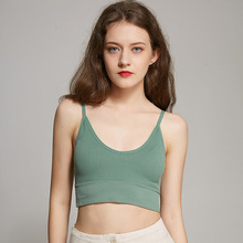 Sexy Summer Women Girls Tank Top Women's  Padded Tube Top Thin Wirless Cropped Top Underwear 2019 velevet lace trimmed cropped tank top