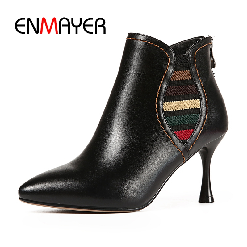 ENMAYER  Basic  Pointed Toe  Macvise 2018  Shoes Woman  Ankle Boots for Women  Thin Heels High Heel Boots   Size 34-39 ZYL1663ENMAYER  Basic  Pointed Toe  Macvise 2018  Shoes Woman  Ankle Boots for Women  Thin Heels High Heel Boots   Size 34-39 ZYL1663