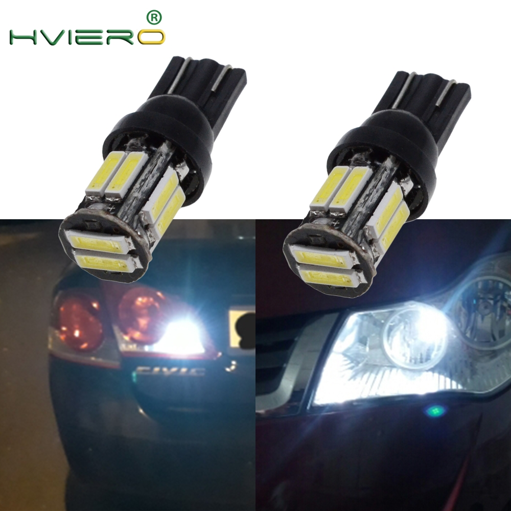 4X 10Led 7020 SMD Auto LED 194 168 Wedge Replacement Reverse Instrument Panel Lamp White Blue Bulbs For Clearance Lights